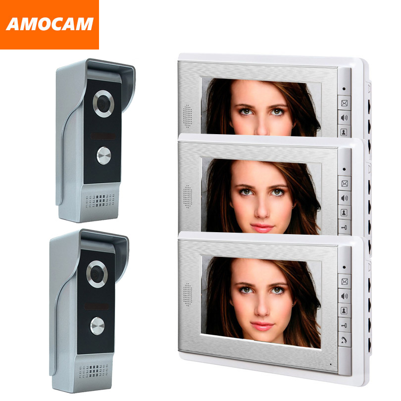 7 Inch Video Door Phone Intercom Doorbell System Wired Home Video Doorphone Visual Intercom Video Interphone 3 Monitor 2 Camera