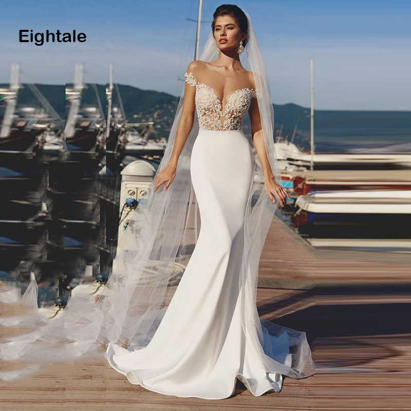Eightale Mermaid Wedding Dresses 2019 O Neck See Through Back Appliqued Boho Bride Dress Sexy Wedding Gown Free Shipping