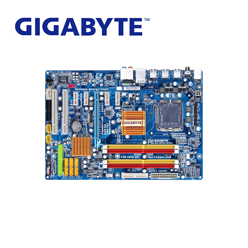 LGA 775 For Intel DDR2 Gigabyt GA-EP43-DS3L 100% Original Motherboard Desktop Computer Mainboard 16GB EP43-DS3L Boards P43 Used nema23 geared stepping motor ratio 50 1 planetary gear stepper motor l76mm 3a 1 8nm 4leads for cnc router
