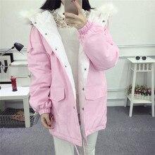 2016 Корейский зимняя одежда новый код в длинный отрезок сыпучих конфеты цветной хлопок платье с капюшоном толстые теплые одежды
