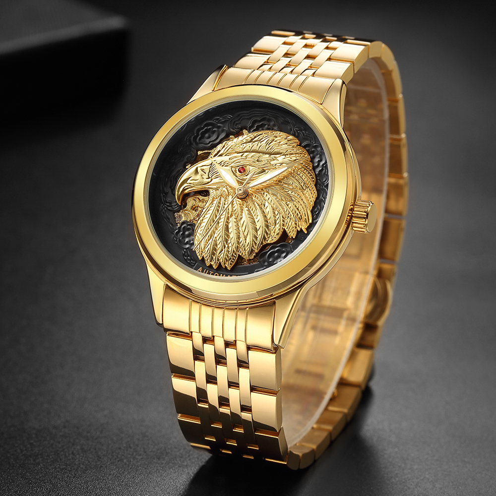 2018 New Unique Golden Eagle 3D Carved Dials All Stainless Steel Men Skeleton Automatic Mechanical Watch Waterproof Sport Clock цена