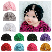 Yundfly Infant Newborn Caps with Pearl Rhinestone Kont Turban Girls Spandx Stretchy Beanie Hat Headwear Baby Hair Accessories