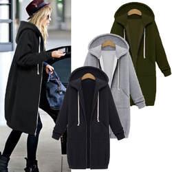 2019 свитеры для женщин Женская Повседневная Длинная Куртка с капюшоном на молнии Толстовка винтажная плюс размер 5XL верхняя одежда, худи