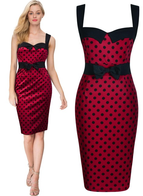 Free shipping Women\'s Vintage 40\'s 50\'s Style Rockabilly Red Polka ...
