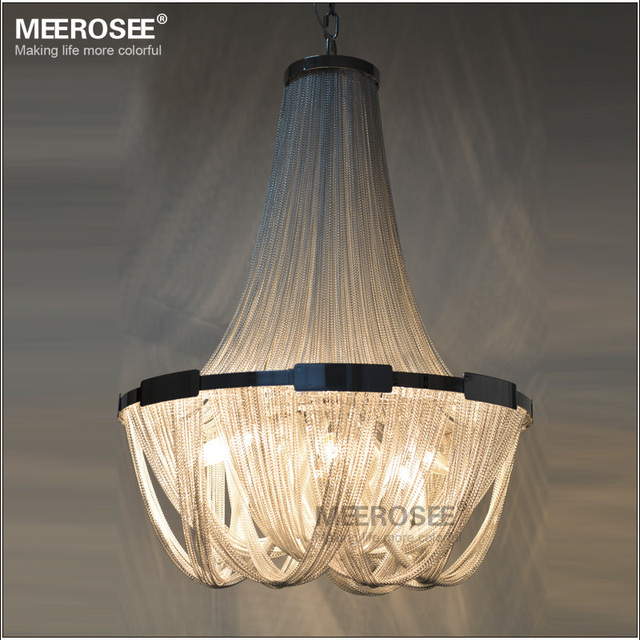 French Empire Chain Chandelier Light Fixture Long Hanging Suspension Re Lamp Aluminum For
