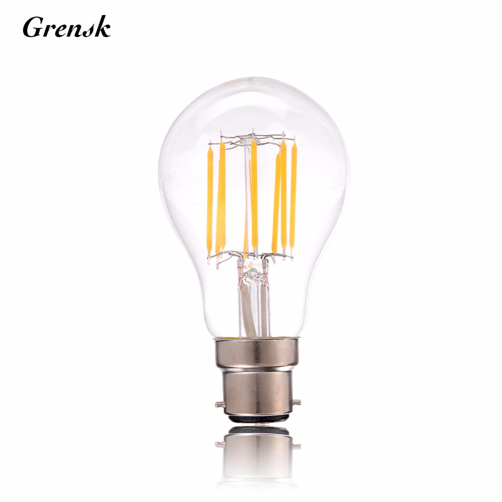 B22,4W 6W 8W,Vintage LED Filament Light Bulb,Edison A19/A60 Classic Style,Warm White,220-240VAC,Dimmable high brightness 1pcs led edison bulb indoor led light clear glass ac220 230v e27 2w 4w 6w 8w led filament bulb white warm white