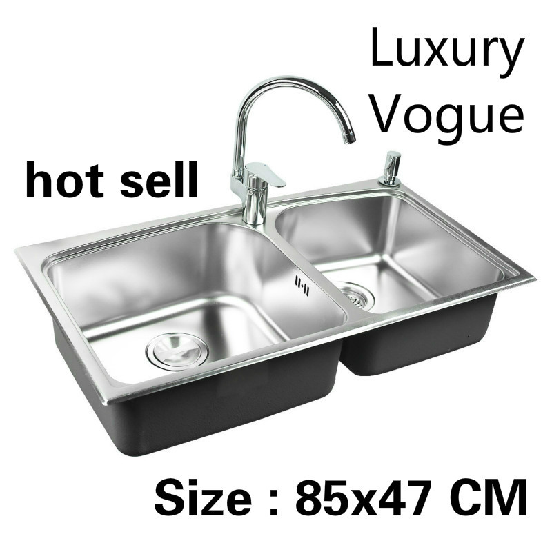 Free Shipping Standard Individuality Kitchen Sink Food Grade 304 Stainless Steel Double Trough Hot Sell 85x47 CM