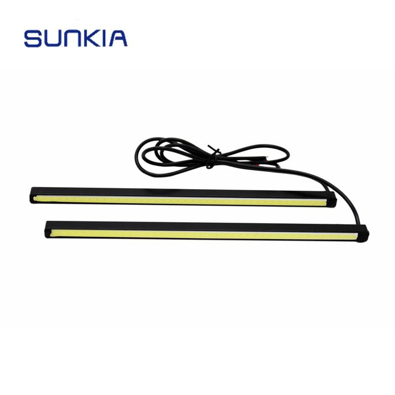2ks / pár SUNKIA High Power 20CM COB Denní běh Light Car Styling Vodotěsný DRL Super White Denní světlo Mlhovka