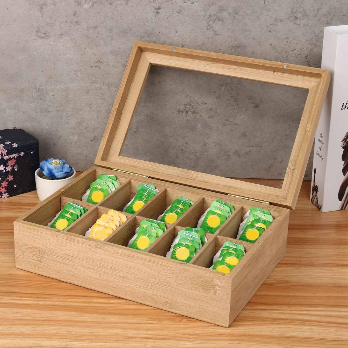Multifunctionele 10 Grids Bamboe Thee Doos Suiker Tas Storage Box Organizer Container Case Decoratie Geschenken Keuken Accessoires-in Opruimdozen & Afvalbak van Huis & Tuin op title=