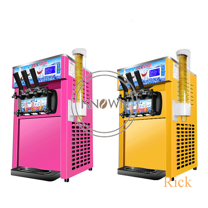 Commercial Air-cooling Soft Ice Cream Machine Electric 16L/H 3 R410a Flavors Sweet Cone Ice Cream Maker 110V/220V