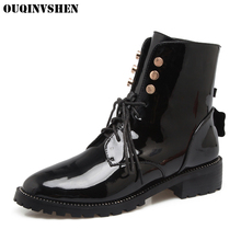 OUQINVSHEN Round Toe Square heel Women's Boots Cross Tied Women Ankle Boots 2017 Winter Casual Fashion Rivet Ladies Girl Boots