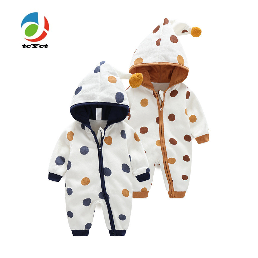 tcYct 2017 Newborn Baby Romper Kid Jumpsuit Hooded Infant Outfit Clothes Polka Dot Baby Rompers Overalls of Toddler body suit newborn infant baby girl clothes strap lace floral romper jumpsuit outfit summer cotton backless one pieces outfit baby onesie