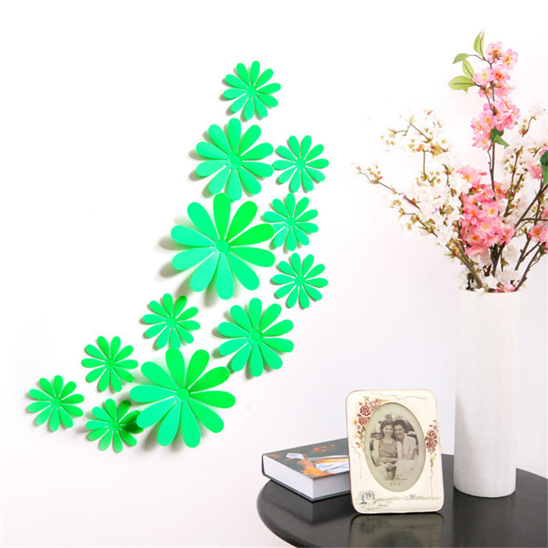 12pcs 3d Daisy Home Bedroom Decor Wall Stickers For Kids Room Christmas Party Decor Kitchen Refrigerator