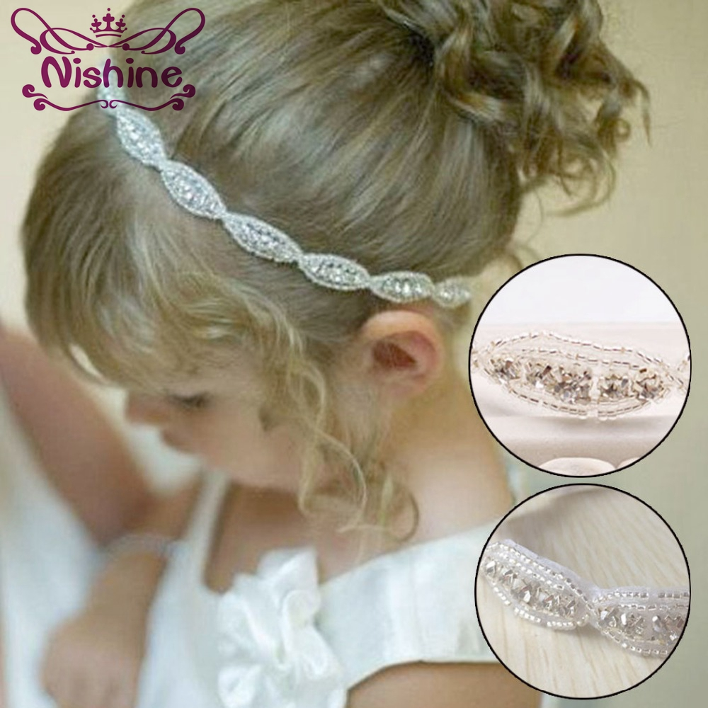 Nishine Lovely Girls Princess Flower Hairband Kids Children Rhinestone Headband   Headwear   Elastic Hair Band Accessories
