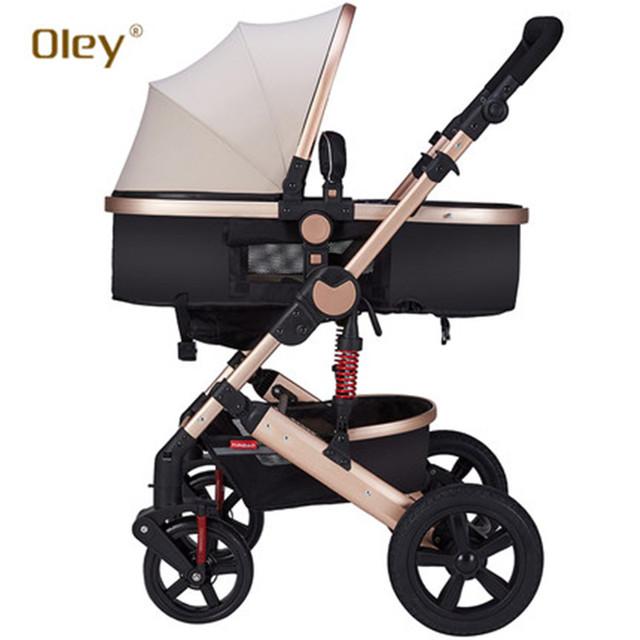 Oley Luxuoso Do Bebê Carrinho De Dobra Moda Estilo Pneu de Borracha Do Pram Do Bebê
