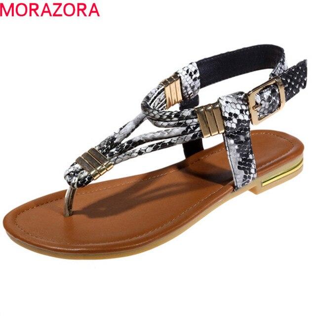 MORAZORA 2019 yüksek kalite hakiki deri ayakkabı kadın basit yaz ayakkabı rahat plaj düz ayakkabı kadın sandalet