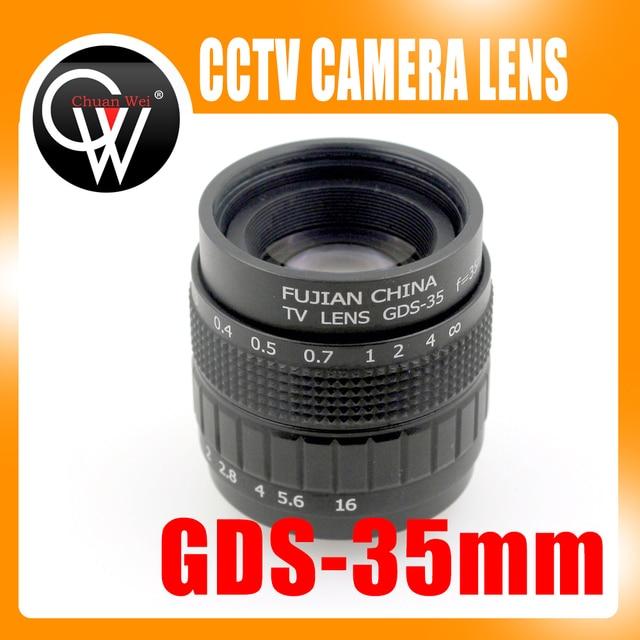Lentille de vidéosurveillance professionnelle 35mm f/1.7, monture C, boîtier en alliage, avec objectif de qualité