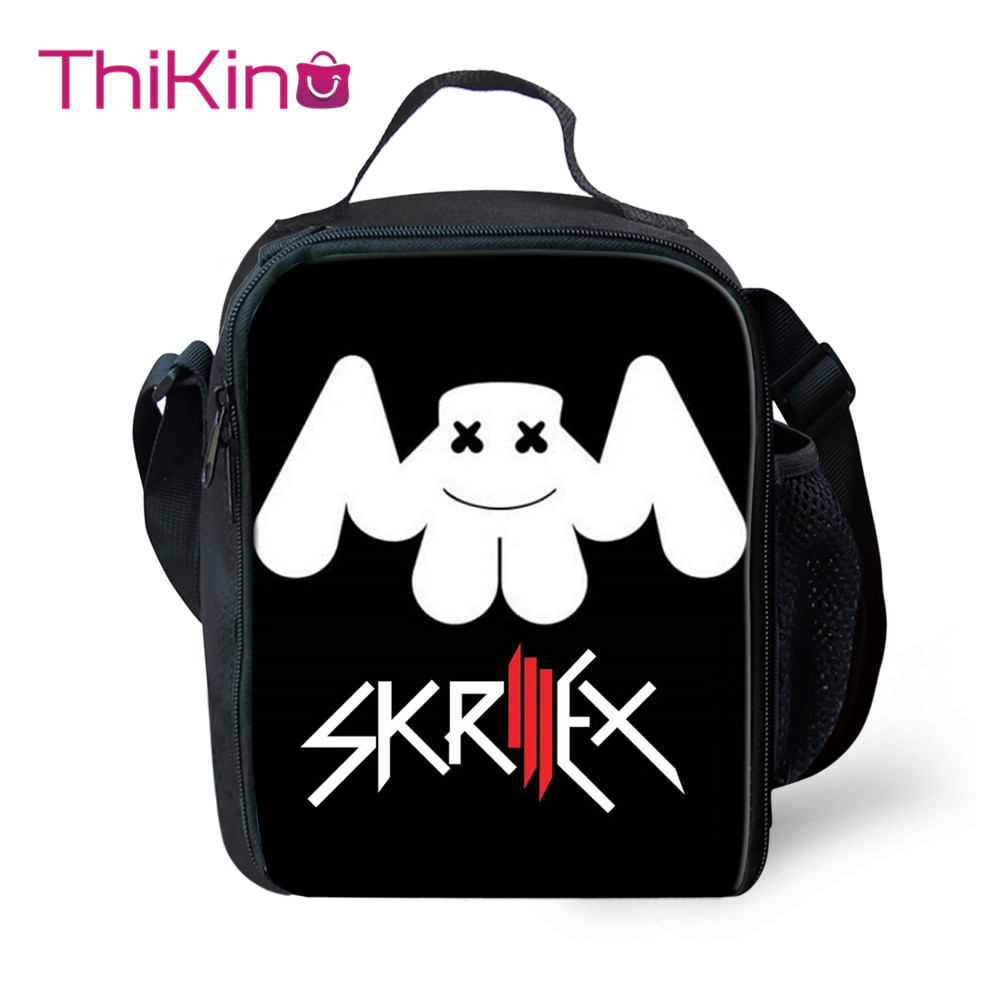 Thikin Casual Idol cool DJ Mask Print Lunch Bags for Teen Girls Portable Cooler Box Cartoon Pattern Tote Picnic Pouch