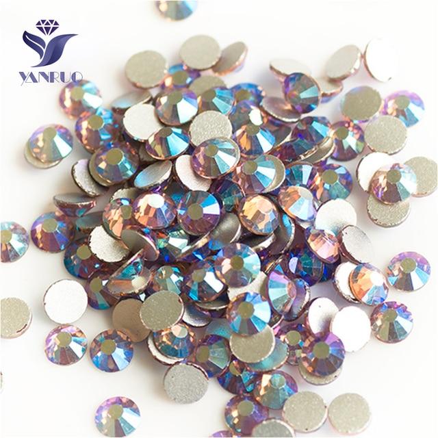 YANRUO 2058NoHF All Sizes Lt.Amethyst AB Flatback Non Hotfix Glue On Crystal  Strass Rhinestones For Nails Art b9c3925f30e9