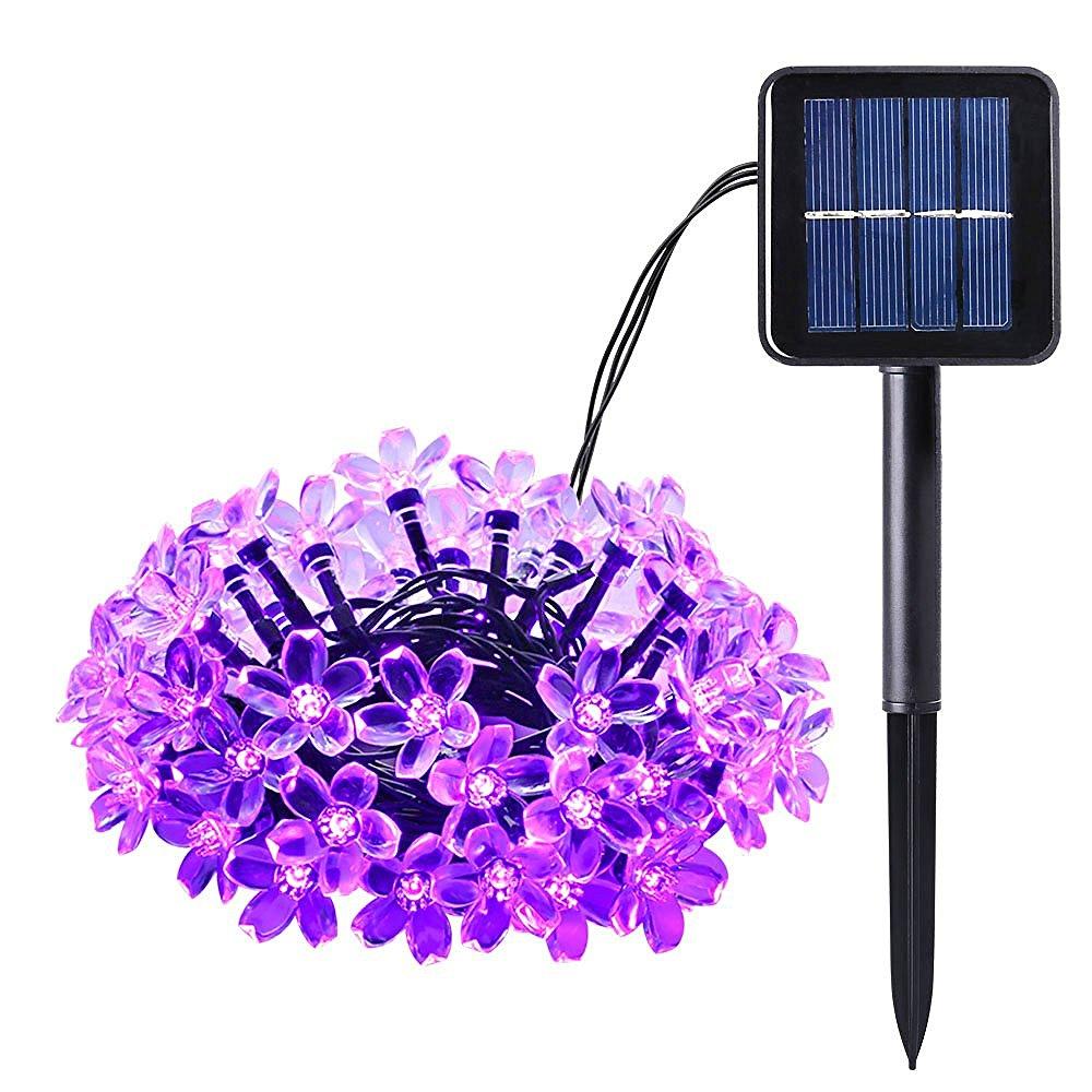 Solar Outdoor String Lights 21ft 50 Led Purple Blossom Christmas For Home Bedroom Garden Walkway Long Working Time Light