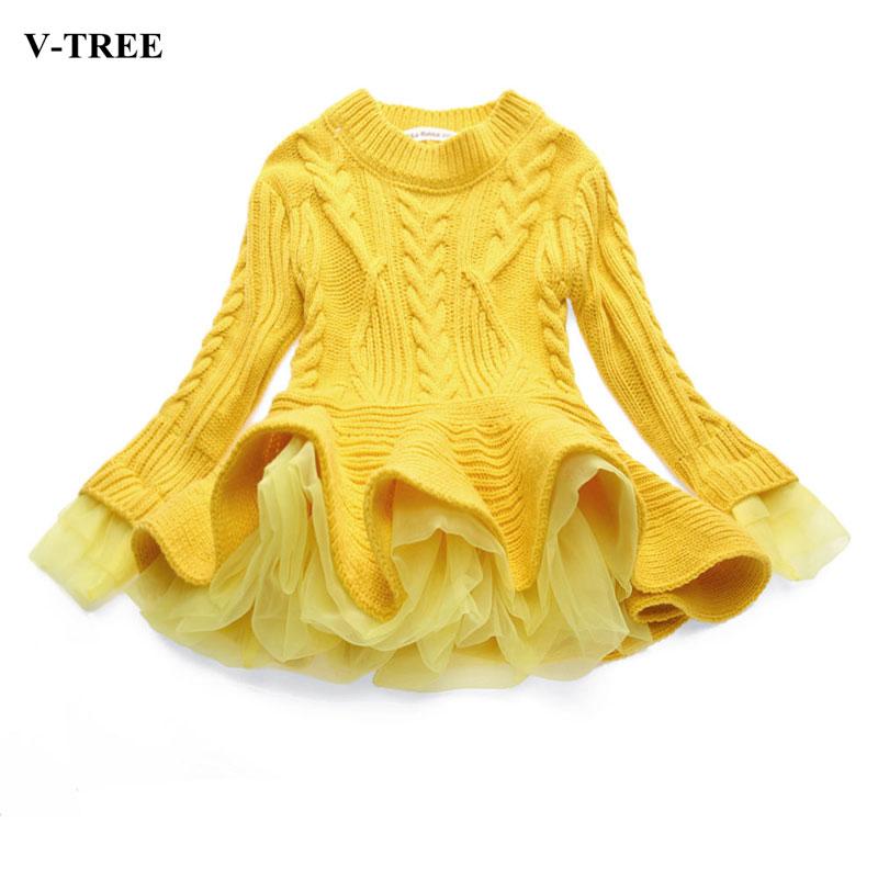 V-TREE Flower Girl Dresses Long Sleeves Kids Dresses For Girls Children Clothes For Girls Age 2-8Y Princess TUTU Dress