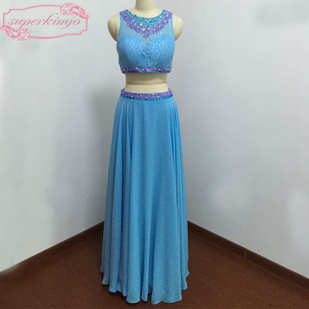 Blue Evening   Dresses   Floor Length Lace Crystal Beading Sequins Crystal Two Pieces Blue   Prom     Dresses   Real