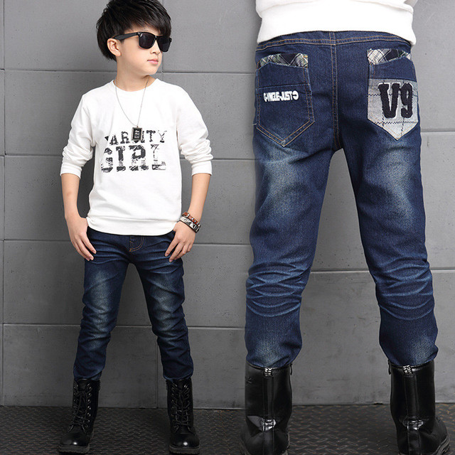 New Brand Winter Boys Jeans Thicken Boys Jeans Warm Kids Trousers Elastic Waist Demin Pants For Children Causal Boy Baby Jeans
