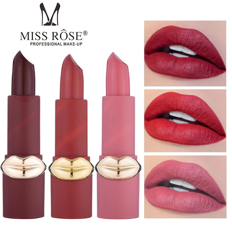 MISS ROSE Hana Matte Lipstick Waterproof Lip Tint Long Lasting Nude Makeup 12Colors Red Lip Stick Rouge a Levre 2018 New Batom