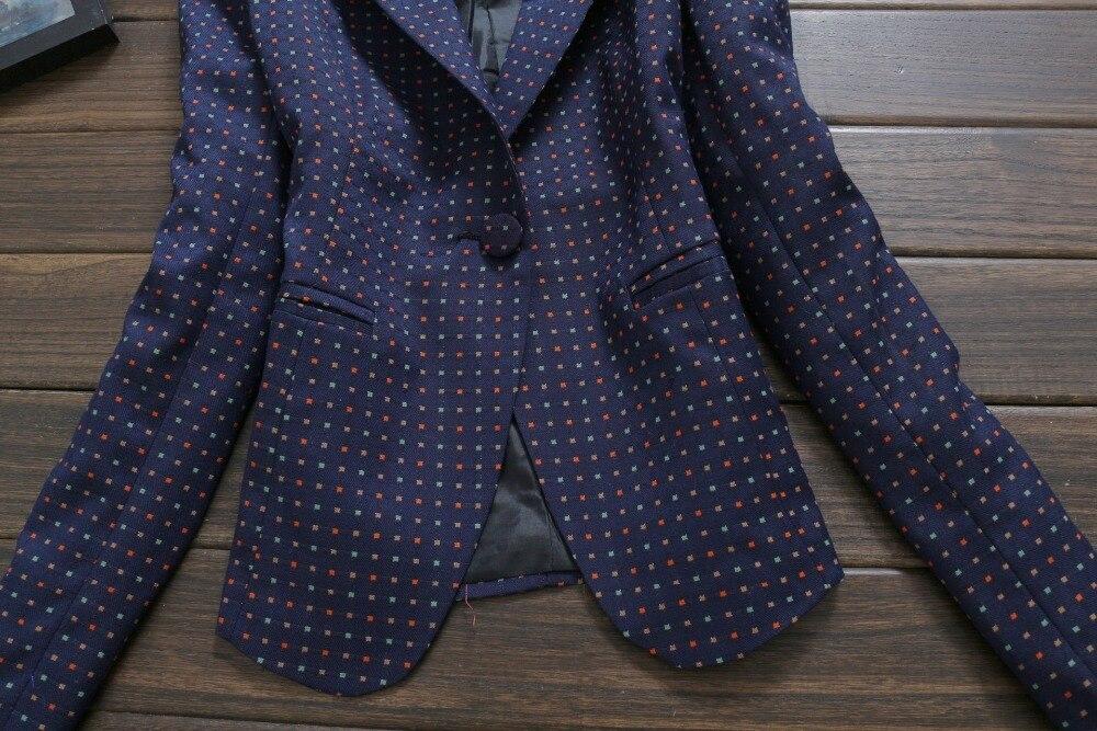 a95f6f76a7d Spring Summer 2015 Korean Women Blazer Feminino Vintage Polka Dot Print  Navy Blue Suit Jacket Plus Size Office Ladies Outerwear-in Blazers from  Women s ...