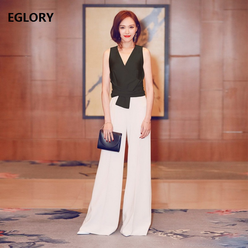 Elegant Jumpsuit 2018 Spring Summer Party Events Pants for Women V-Neck Black White Color Block Sleeveless Female Jumpsuit OL
