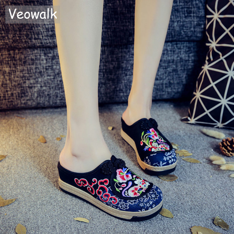 Veowalk Handmade Summer Women Canvas Close Toe Slippers Chinese Knot Ladies Casual Cotton Embroidered Mules Shoes Platforms waterproof oxford tote bag nylon shoulder mummy bag large capacity women shopping bags bolsa