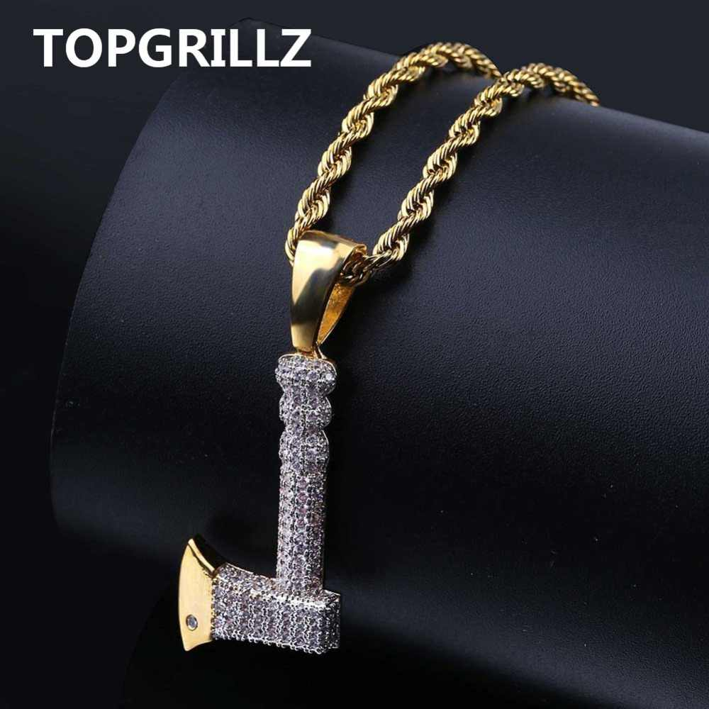 TOPGRILLZ Hip Hop Jewelry Ax Necklace&Pendant Copper Gold Color Plated Iced Out Micro Pave Cubic Zircon Charm For Men Gifts