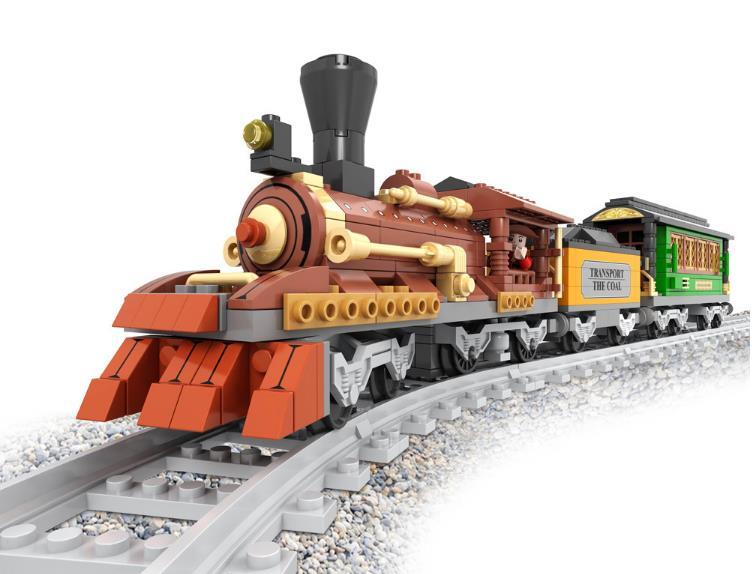 483 pièces classique West cowboy ville ancien classique Train modèle blocs de construction jouets pour enfants Compatible avec briques legoed