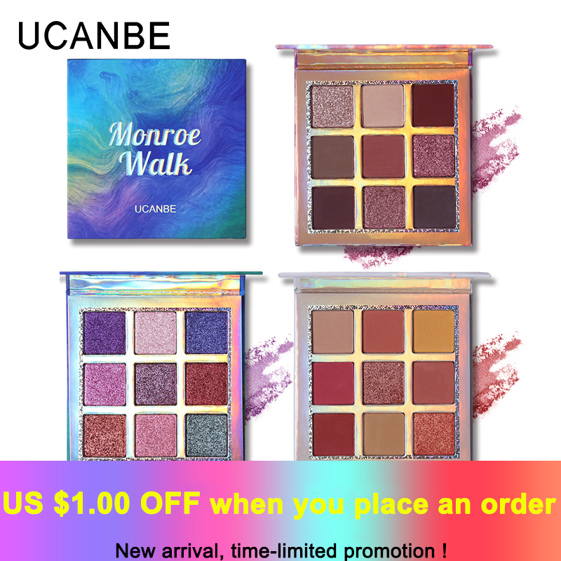 UCANBE Brand Shimmer Matte Eyeshadow Makeup Palette 9 Colors Holographic Nude Glow Pigment Eye Shadow Long Lasting Cosmetic Set ucanbe brand professional 15 earth colors matte eyeshadow palette pigments makeup shimmer eye shadow powder contour cosmetic set