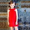 2015 new arrival summer girls red bow button style kids clothes children before after both side wear for kid sleeveless dress