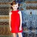 2015 nueva llegada muchachas del verano botón rojo del arco del estilo niños ropa de los niños antes de después de ambos lados desgaste para niños sin mangas vestido
