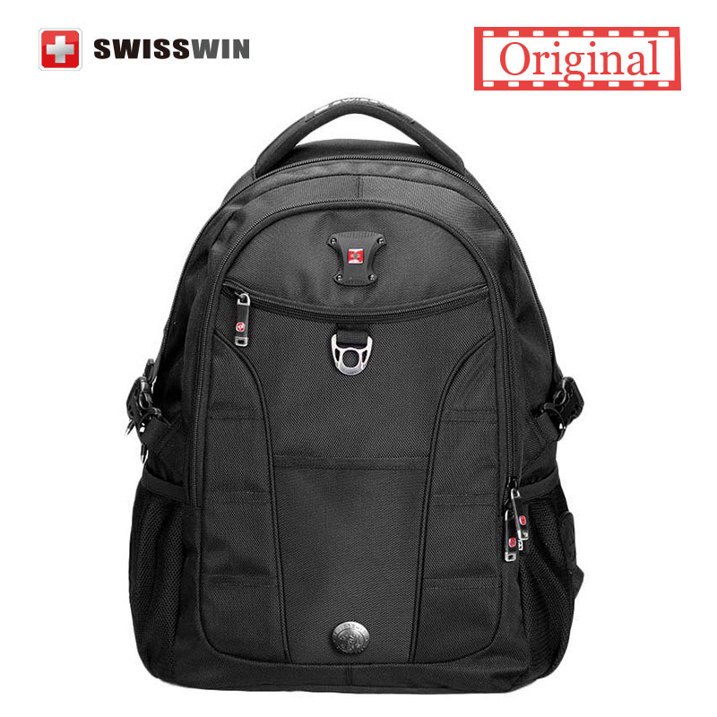 Swisswin Fashion Business Laptop Backpack Multi-Compartment Men's Backpack Computer Bagpack for Teenage students Black Red