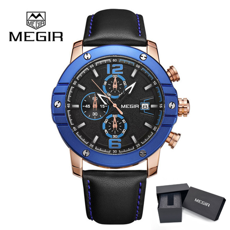 MEGIR Men Sport Watch Chronograph Silicone Strap Top Brand Luxury Quartz Army Military Watches Clock Male Male Relogio Masculino xinge top brand luxury leather strap military watches male sport clock business 2017 quartz men fashion wrist watches xg1080