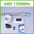 Top quality! 3g 4g repeater with LCD, AWS1700mhz mobile signal booster + yagi antenna America home/office/basement use