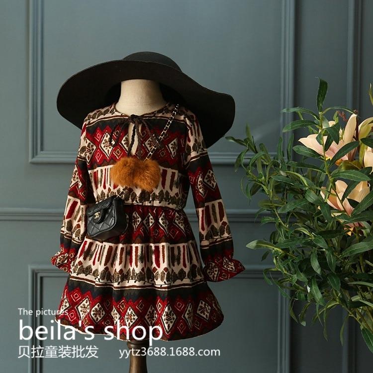 South Korea female's winter 2016 new <font><b>girls</b></font> <font><b>race</b></font> color retro color cashmere dress rabbit ball clamp free shipping
