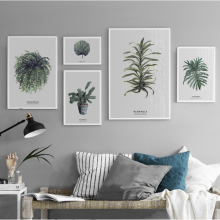 купить New Minimalist Nordic Leaf Plants Canvas Paintings Poster Print Typography Wall Art Pictures for Living Room Home Office Decor в интернет-магазине