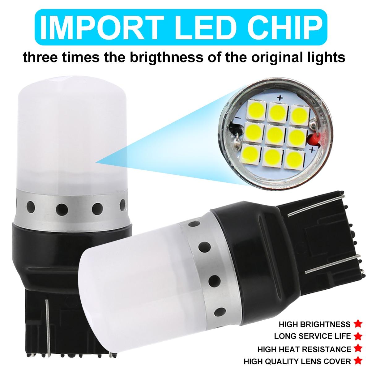 Mayitr 2pcs T20/7443/W21/5W SRCK socket Light 9SMD 3030 Red LED Brake Stop Light Bulb With Lens Cover for Car Lighting