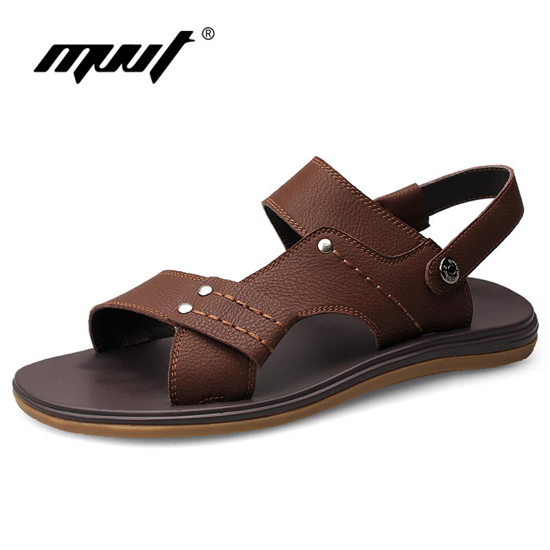 MVVT Fashion Men Sandals High Quality Microfiber Casual Slippers Cool Summer Shoes Solid Flat Flip Flops