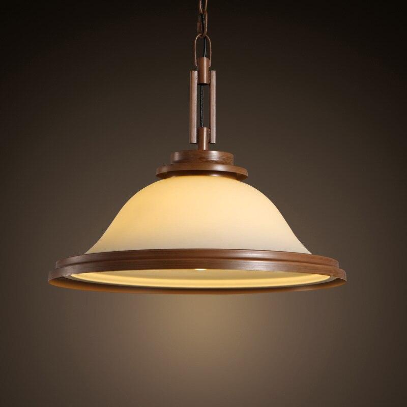 American Village Dining Room LED E27 Droplight Living Room Retro Simple Circular Glass Pendant Lamp Restaurant Bar Decor Lights Pendant Lights     - title=