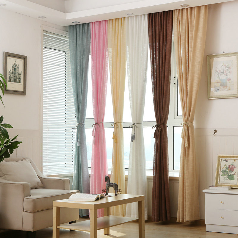 White Linen Tulle Sheer Curtain for Kitchen/Hotel Solid Color Purple Blue Beige Pink Brown