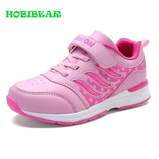 HOBIBEAR New Children Girls Running Shoes Pink Purple Girls Sneakers Kids Hook Loop Jogging Shoes Non-Slip Sport Trainers Girls