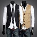 Men Suit Vest Mens Waistcoat Vests business Slim Fit Fashion Male Single-breasted Casual suit collar Vests gilet costume homme