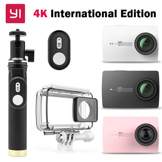 """Yi 4 k câmera de esportes câmera de ação 2 ambarella a9se ii 2.19 """"155"""" 12.0MP CMOS EIS LDC ESPOSA Versão Internacional"""