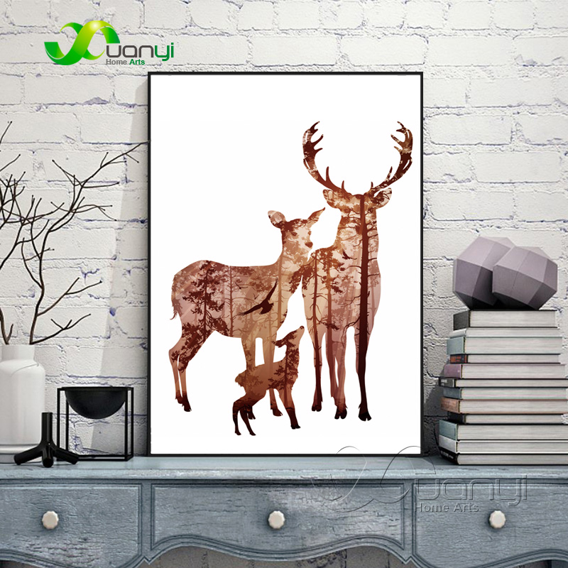 Nordic Decoration Silhouette Of Deer Family With Pine Forest Canvas - Dekorace interiéru