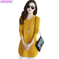 2018 Autumn Winter Sweater Women Round Neck Pullover Knit Sweater Large Size Loose Long Sleeves Women